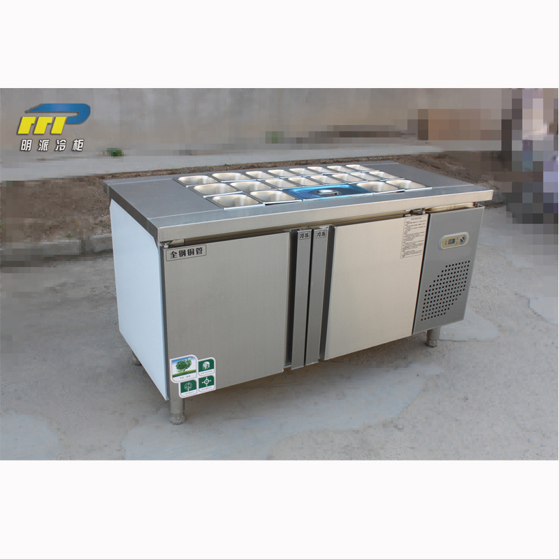 定做不锈钢小菜冰箱卧式冷藏冷冻展示柜食品保鲜柜商用冷柜冰柜图片