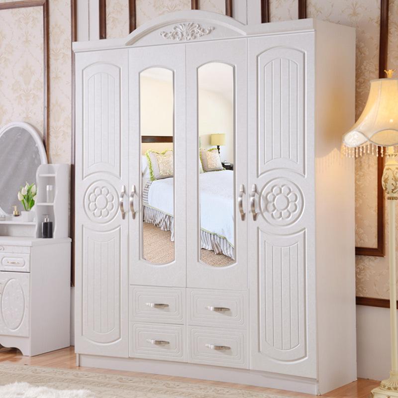 欧式衣柜 木制板式白色开门大衣橱 整体三四门带镜子 储物柜组合