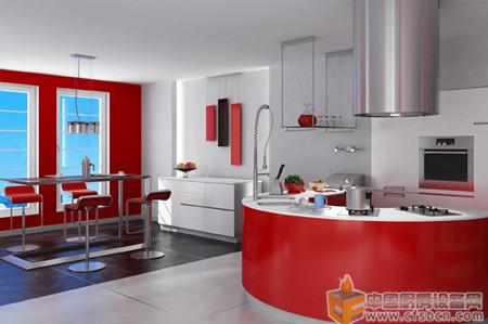 红色主色调的厨房装修效果图 半圆弧的灶台完美设计